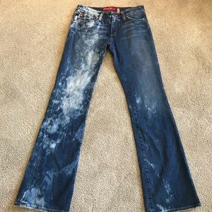 Big star boot bleached & distressed jeans- midrise